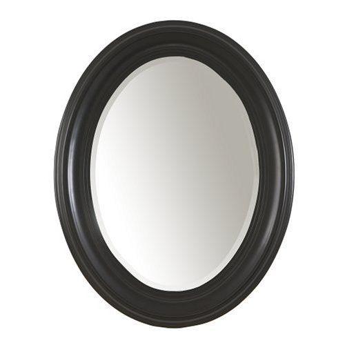 Carolina Cottage Oval Mirror, Antique Black - Beveled Edge Cheval Mirror