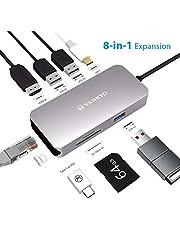 vankyo hub USB c 3 x USB 3.0 Adapter en Aluminium USB-C vers HDMI 4K, Lecteur de Carte SD & Micro SD Compatible avec MacBook Pro/MacBook Air 2018/Portables Windows USB C - Gris
