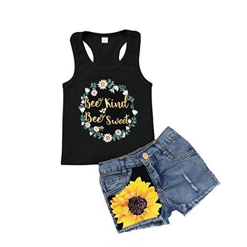 Honganda 2Pcs/Set Fashion Toddler Kids Baby Girl Sleeveless T-Shirt Top+Floral Denim Shorts Outfits (Black+Denim, 5-6 Years)