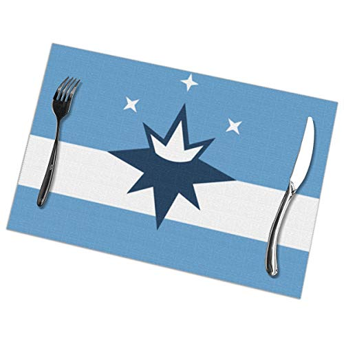 XIKEWL Placemats 12 X 18-Inch Set of 6 New Springfield City Flag Washable Fabric Placemats for Dining Table -