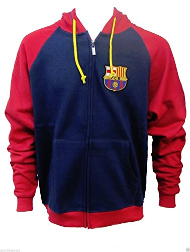 Fc Barcelona Soccer Zip Front Fleece Hoodie Sweatshirt Jacket (XL) by Rhinox