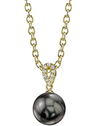 14K Gold Round Black Tahitian South Sea Cultured Pearl & Diamond Callie Pendant Necklace for Women