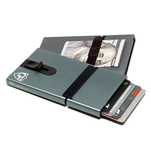 Card Blocr Credit Card Holder Minimalist Wallet Slim RFID Blocking Metal Wallet (Titanium Top Trigger)
