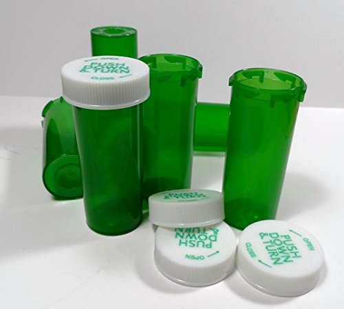 Plastic RX GREEN Vials/Bottles 100 Pack w/Caps Larger 13 Dram Size-Pharmaceutical Grade-Same We Sell to Professional Users by Magnetic Water Technology