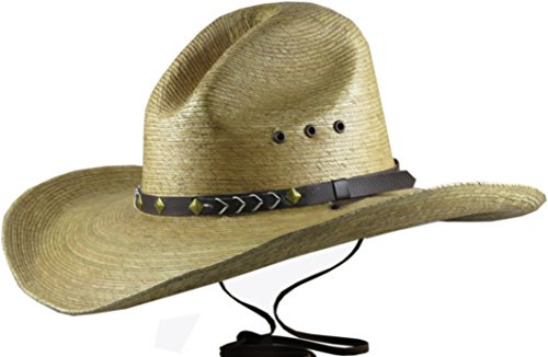 Skull Cowboy Hat (BULL-SKULL HATS, PALM LEAF COWBOY HAT, GUS 518 (S-M, Brown))