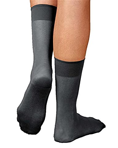 Sheer Cotton Sole Ankle High, Soft Black (Ankle High Hose)