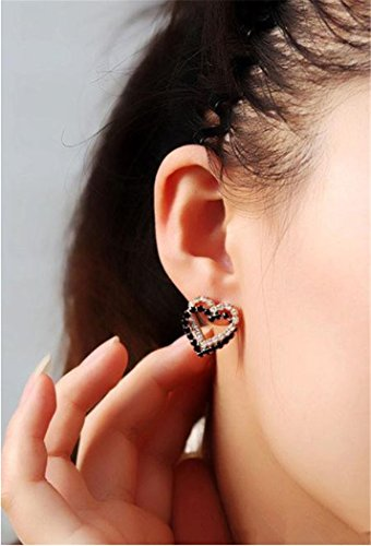 Elegant Handmade Double Entwined Black & White Rhinestone Pendant Ear Decorated Jewelry Earrings Ear Stud