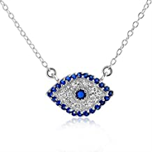 Bling Jewelry Sterling Silver Simulated Sapphire CZ Evil Eye Necklace 16in