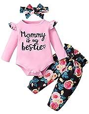3 قطع الرضع طفل الفتيان بنات الحلو رسالة رومبير+ السراويل الأزهار + عقال ملابس مجموعة الملابس (Color : Pink, Size : 24M)
