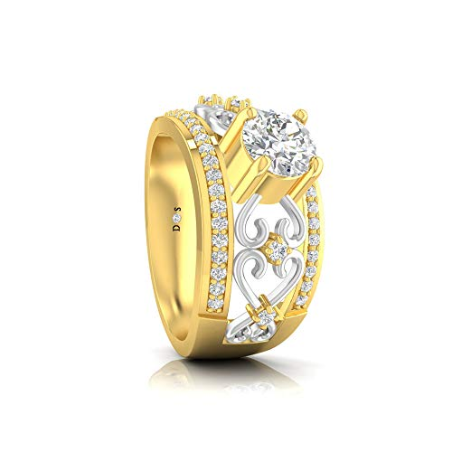 14KT Gold with 0.88 Carats Glittering Heart Design Filigree Raised Solitaire with Prong Set Band Ring-RF1662