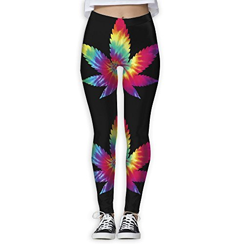 YOYOYOGA Tie Dye Leaf Weed Cannabis Women Exercise Stretch Footless High Waist Leggings Pants
