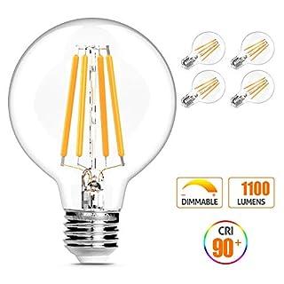 Globe Light Bulbs, G25 LED Edison Light Bulbs 100W Equivalent, 1200 Lumens, Dimmable 10W E26 Base Vanity Light Bulb with Warm White 2700K for Home Reading Room Bathroom, 4-Pack