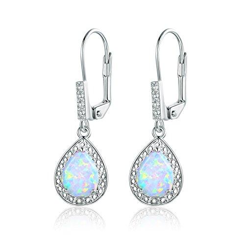 Barzel White Gold Plated Created Fire Opal & Diamond Accent Drop Earrings