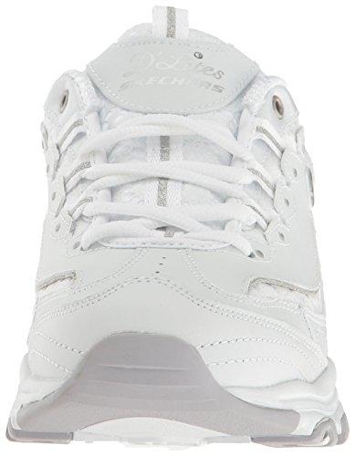 Skechers Spitzenstoff Low D'Lites Fan Women's Weiß Top Sneakers Biggest rz81rwq