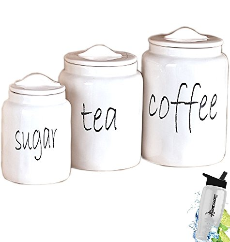 Gift Included- White Farmhouse Kitchen Countertop Sugar Tea Coffee Canister Set + FREE Bonus Water Bottle by Home Cricket Homecricket ()