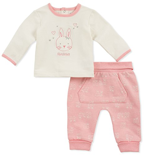 absorba Baby Girls 2 Pieces Pant Set, Silent Vanilla/Pink Gin, 3-6 Months