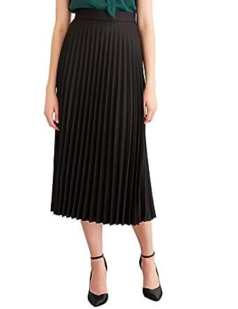 Simple Retro Women's Pleated Skirt Midi A Line High Waist Skirt at ...