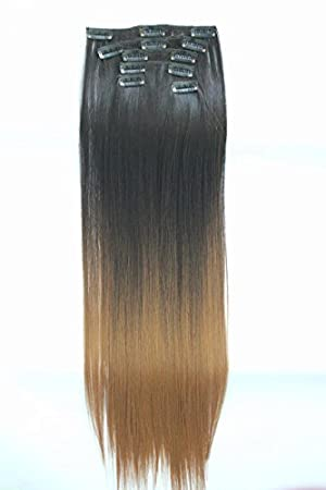 22quot Full Head Clip In Hair Extensions Ombre Straight Dip Dye 6 Pcs Natural Black