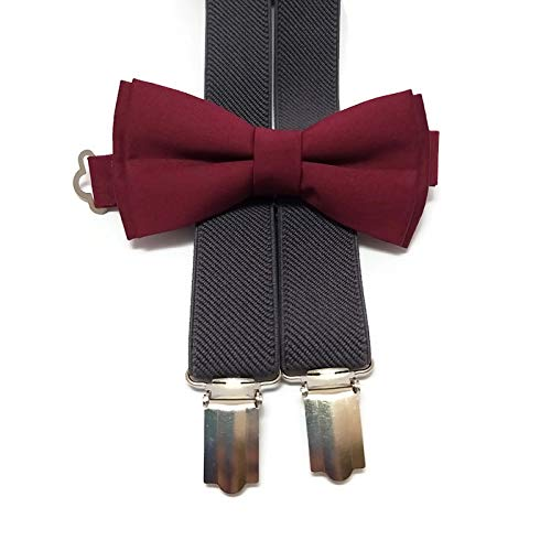 2c1cadc12 Image Unavailable. Image not available for. Color  CHARCOAL suspenders and BURGUNDY  WINE plain bow tie ...