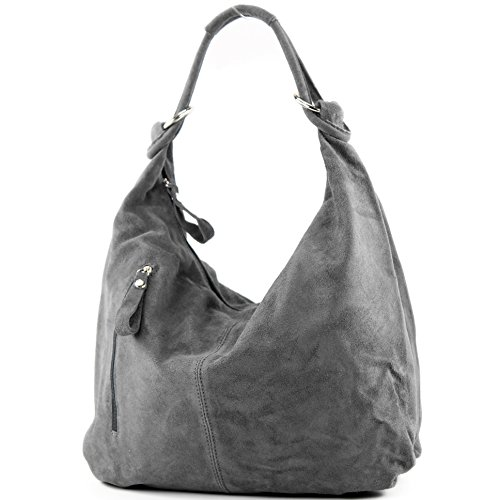 T158 Leather Dark Large Bag Leather Wild de Hobo Bag ital Bag modamoda Leather Gray wSY6q7P