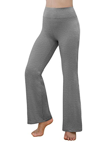 REETOYO Women's Power Flex Tummy Control Workout Yoga Boot Cut Flares Pants with Inner Pocket, Gray Heather, ()