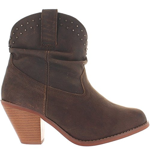 Dingo Women's Lou Lou Short Round Toe Western Boots, Brown Leather, 9 M