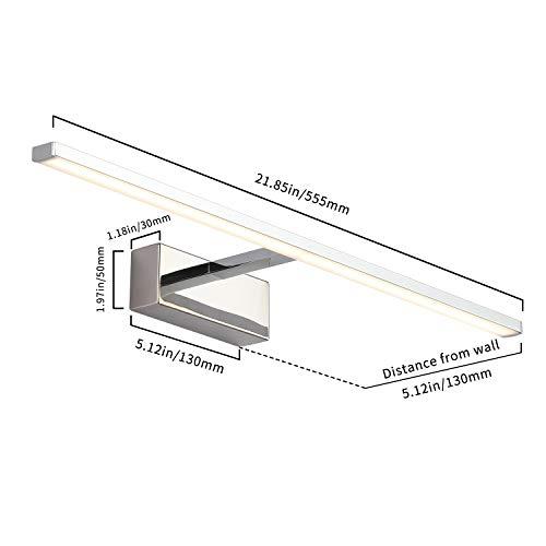 LED Spiegelleuchte Badezimmer - 12W Bad Spiegellampe 56cm, 850 Lumen Badlampe aus Edelstahl und PC, Neutralweiß 4000K und kein Flackern, Wasserdicht IP44 für Spiegel als Make-up Licht