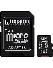 بطاقة ذاكرة ميكرو اس دي مع محول كانفاس سيلكت بلس من كينجستون micSDXC - 64 جيجابايت