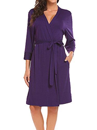 BLUETIME Womens Soft Sleepwear Cotton Wrap Robe, Short (XL, Purple)