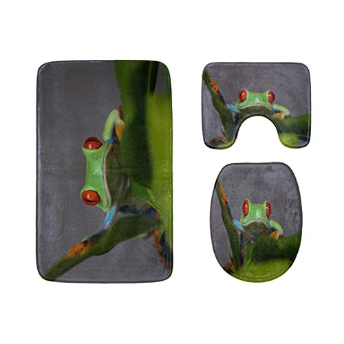 Beautiful Tropical Rainforest Tree Frog Bathroom Rug Mats Set 3-Piece,Soft Shower Bath Rugs,Contour Mat and Toilet Seat Lid Cover Non-Slip Machine Washable Flannel Toilet Rugs