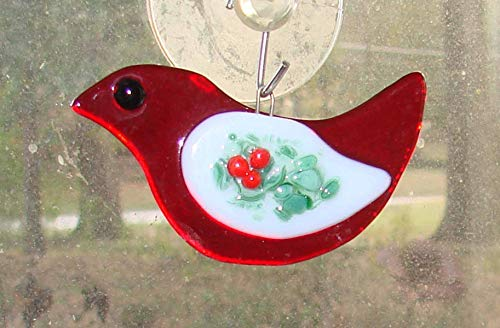 Christmas Cardinal Red Bird with Holly Wing Handmade Fused Glass ()