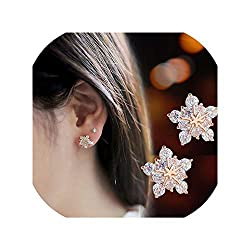 Gold Silver Tone Crystal Rhinestone Snowflake Studs