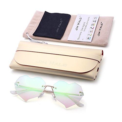 Diseño de Con Remaches Verde Corazón Gafas Mujer Claro Sin Dorado Marco Lentes Sol Anteojos Plano Cristal 8faFd