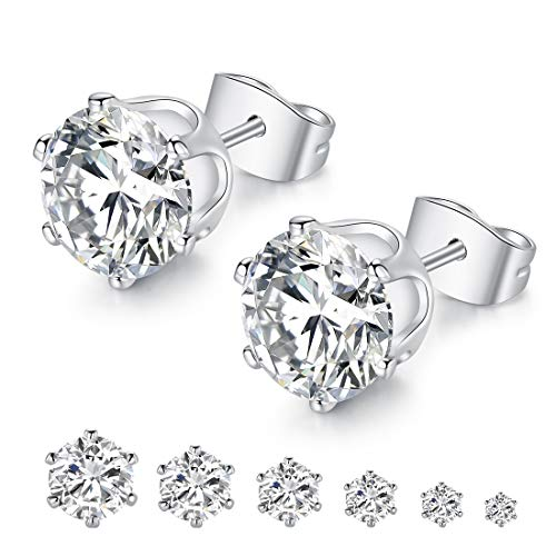 BlueOne 6 Pairs 14K White Gold Plated Cubic Zirconia Round 3mm-8mm Stud Earrings for Women Men Girls