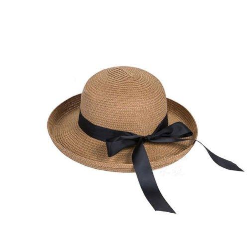 JUJU MALL-Fashion Women's Fedora Straw Wide Upturn Brim Bowler Summer Beach Cap Sun - Website 511