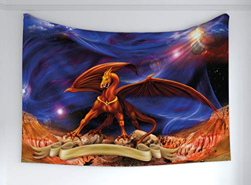 Ambesonne Dragon Tapestry, Fantasy Scene with Dragon Knight Against Cosmos Galaxy Planetary Space Background, Fabric Wall Hanging Decor for Bedroom Living Room Dorm, 60