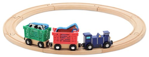 - Melissa & Doug Farm Animal Wooden Train Set (12+ pcs)