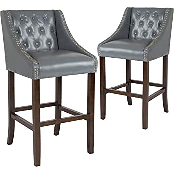 Cool Taylor Logan 30 Inch High Transitional Tufted Walnut Barstool With Accent Nail Trim Set Of 2 Light Grey Leather Short Links Chair Design For Home Short Linksinfo