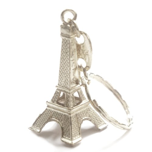 12 Pack - Silver Eiffel Tower key chain favor from Paris, French souvenirs key rings