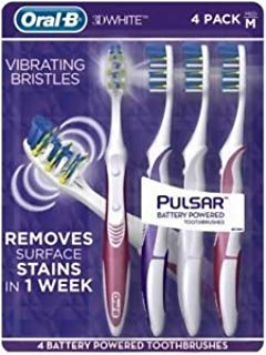Oral B 3D White Luxe 4 Pack Pulsar Battery Powered Toothbrushes - Medium