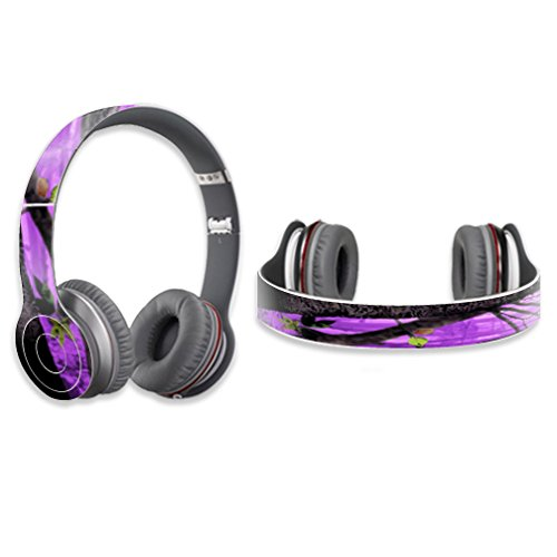 MightySkins Protective Vinyl Skin Decal Cover for Dr. Dre Beats Solo HD Headphones Sticker Skins Purple Tree Camo