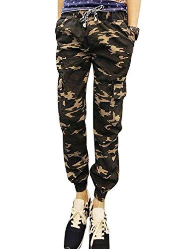 Men Camouflage Pattern Elastic Thigh Cuffs Pants Army Green Beige W30