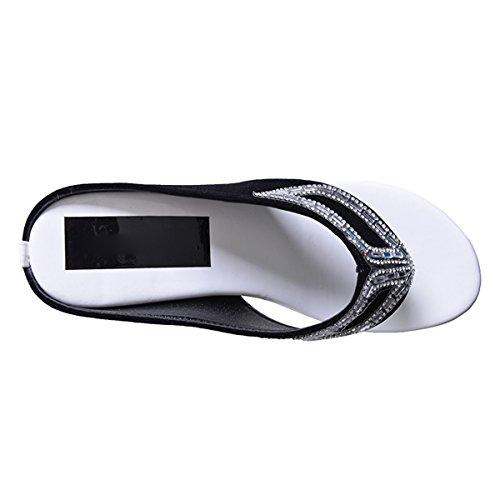 Sandals Flop Dear Time Thong Slippers Black Women Beach Flip Rhinestones Wedges Summer qF7tFgwnH