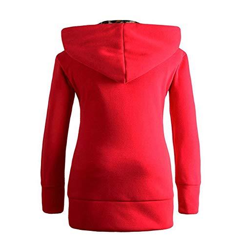 Taille À Capuche Sweater Sweat Rouge Blouse Femmes Léopard shirt Grande Et Uface Velours Pull Zippé F0qw1I