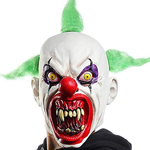 Waltz&F Halloween Scary Clown Costumes Mask Green Hairs Party Cosplay Face Adult Latex - Masks Hair Scary Costume