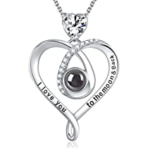Elda&Co 100 Languages I Love You Necklace April Birthstone Fine Jewelry Gift for Women Birthday Sterling Silver Necklace for Mom Wife Girls