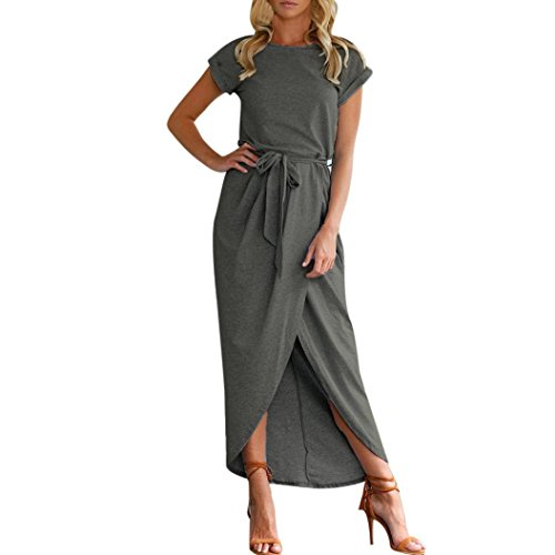 Forthery Womens Maxi Dress Short Sleeve Side Split Summer Long Dresses with Belt (XL, Dark (Contrast Ruffle Back Panty)