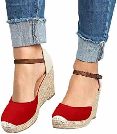 d94abb148e BEAUTYVAN Womens Summer Espadrille Heel Platform Wedge Sandals Ankle Buckle  Strap Closed Toe Shoes