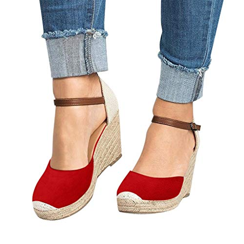 Malbaba Women Fashion Flock Wedges High Ankle Outdoor Sandals Round Toe Casual Shoes Red