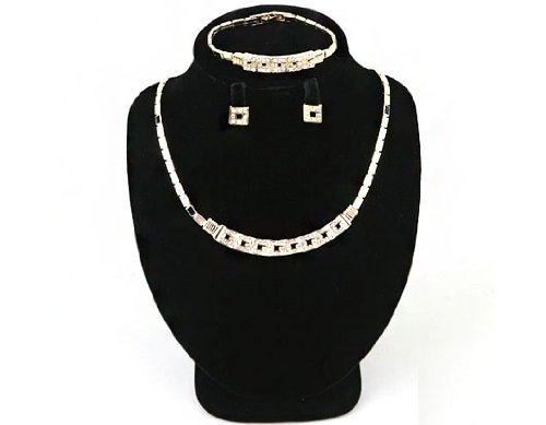 High Quality Fashion Jewelry Earrings Necklace Bracelet Set [ECGS-019] Gold plated Tin / Rhinestone / Gold plated Brass - Made in KOREA